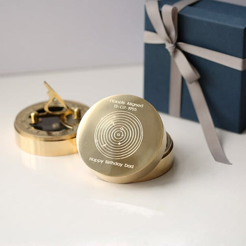 Personalised Planets Aligned Brass Sundial Compass