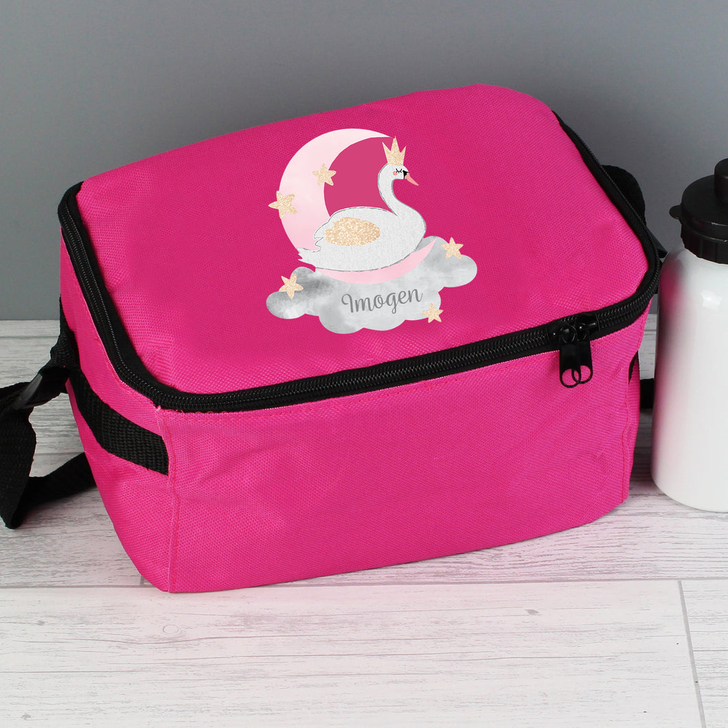 Personalised Swan Lake Insulated Pink Lunch Bag