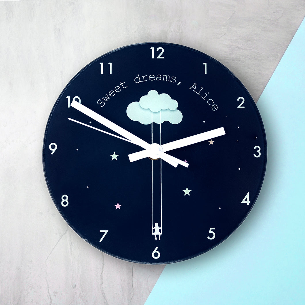 Personalised Sweet Dreams Glass Wall Clock