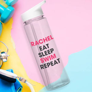 Personalised Eat Sleep Swim Repeat BPA Free Water Bottle