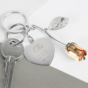 Personalised Silver Plated Swirls & Heart Rose Gold Coloured Rose Keyring