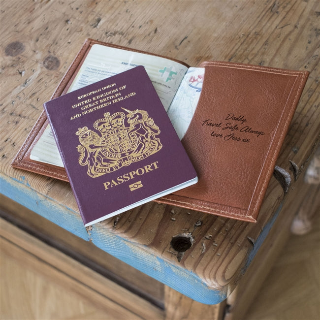 Personalised Tan Leather Passport Cover