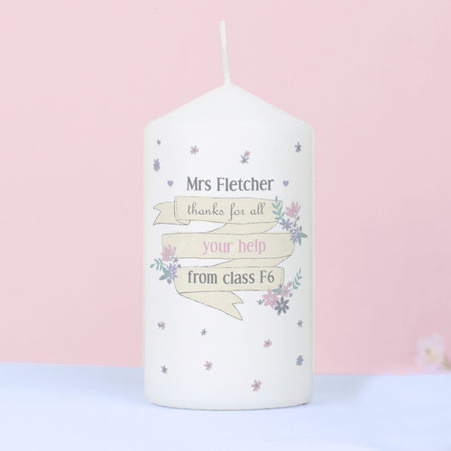 Personalised Floral Design Teacher's Candle