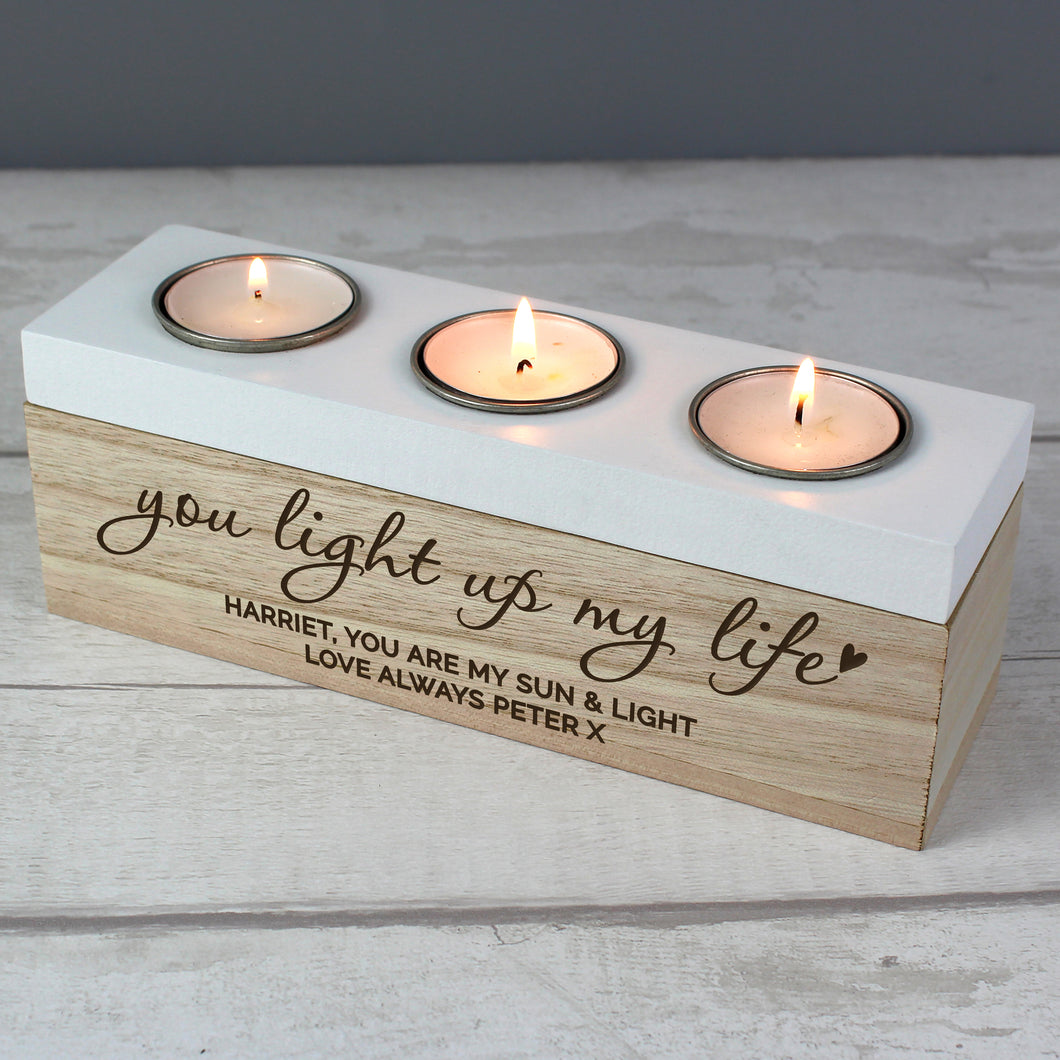 Personalised You Light Up My Life Triple Tea Light Holder Box