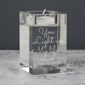 Personalised You Light Up My Life Glass Tea Light Candle Holder