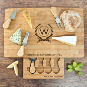 Personalised Better With Age Bamboo Cheeseboard Set