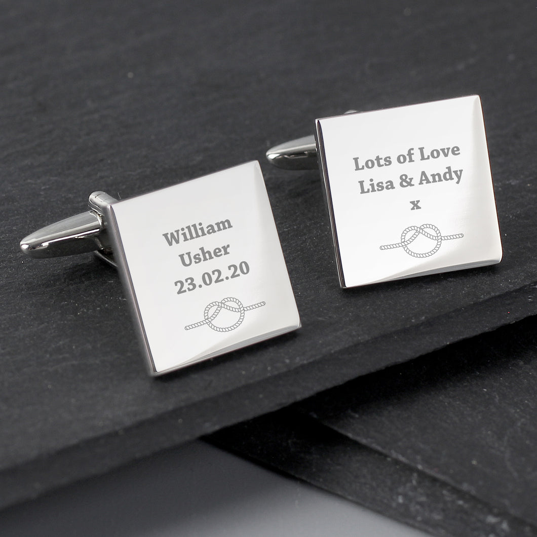 Personalised Tie The Knot Wedding Cufflinks