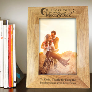 Personalised To The Moon & Back Wooden Photo Frame