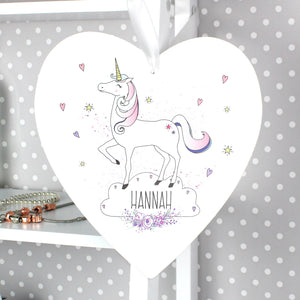 Personalised Unicorn Design Large Wooden Heart Decoration