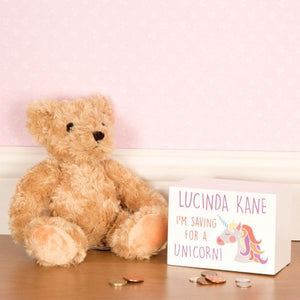 Personalised Saving For A Unicorn Wooden Money Box