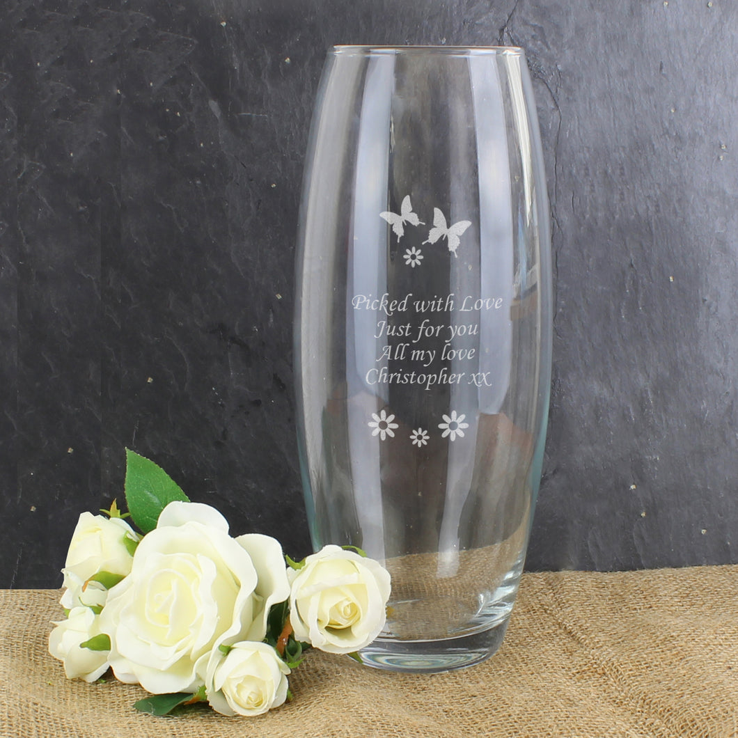 Personalised Butterflies Design Glass Vase