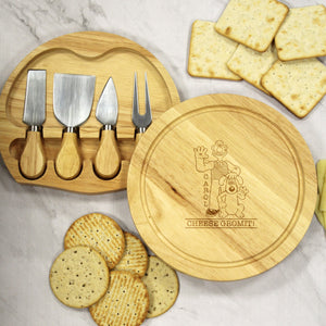 Personalised Wallace & Gromit 'Cheese Gromit!' Cheeseboard & Knives Set