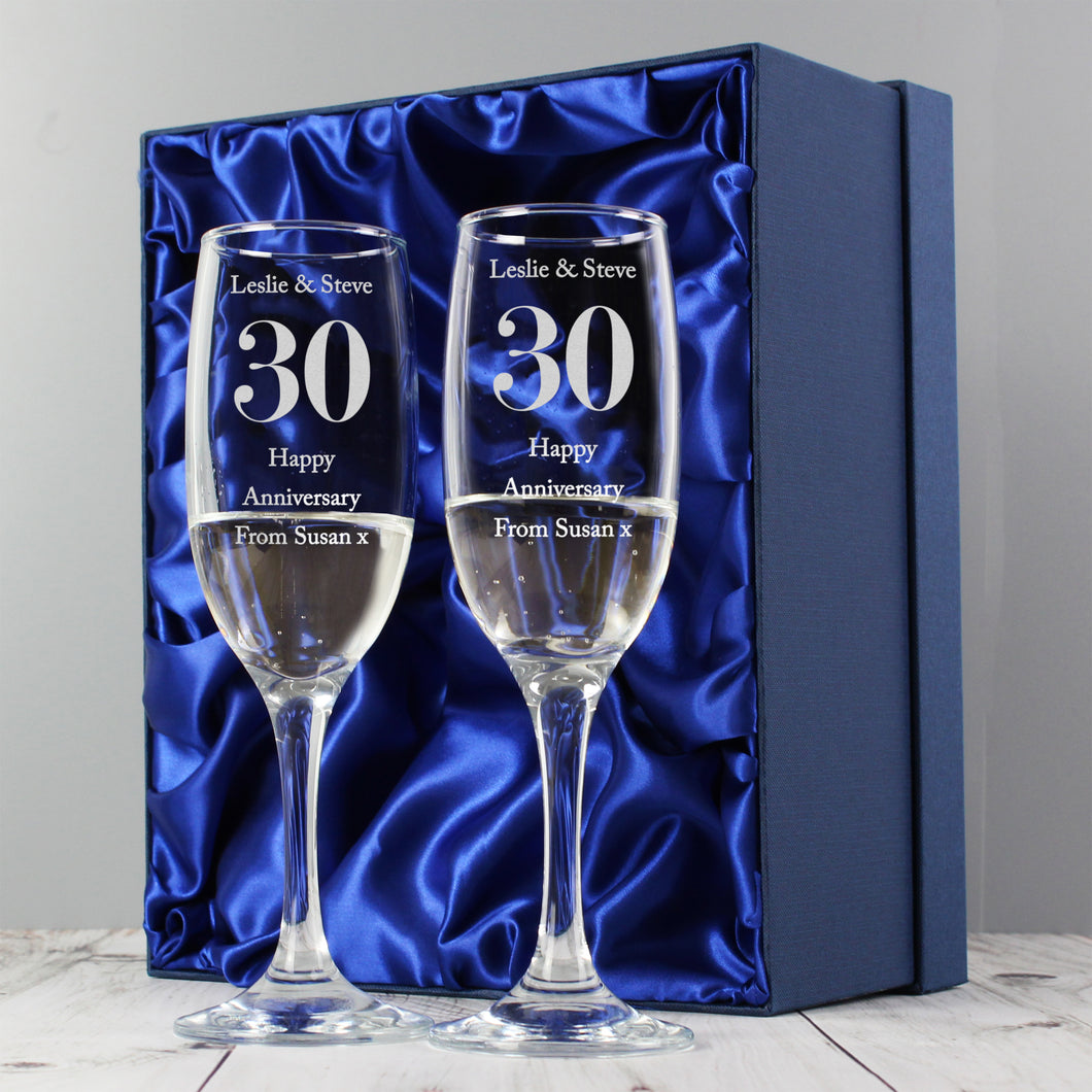 Personalised Any Anniversary Pair of Flutes With Gift Box