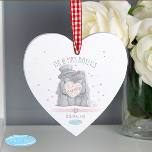 Personalised Me to You Wedding Couple Wooden Hanging Heart Decoration