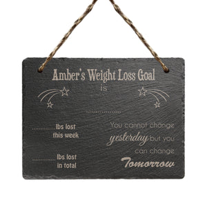 Personalised Weight Loss Goal Hanging Slate Sign