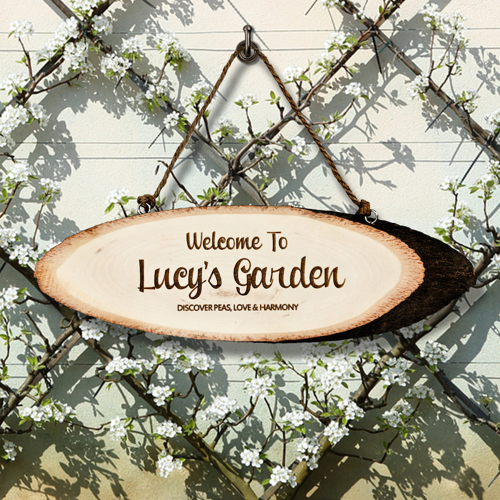 Personalised Welcome To My Garden Rustic Hanging Wooden Sign