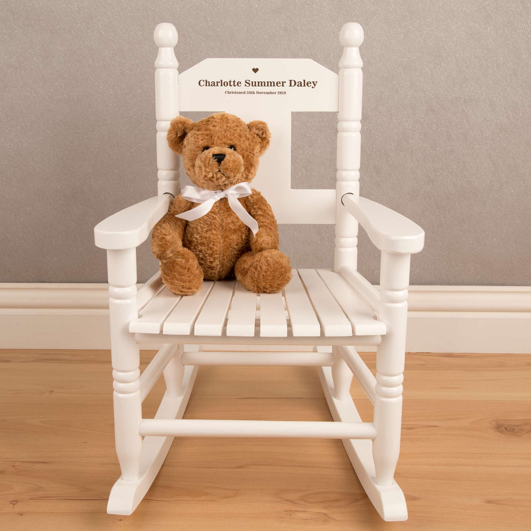 Personalised Child's Wooden White Rocking Chair