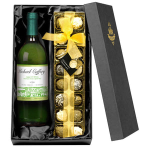 Personalised White Wine & Chocolate Truffle Gift Set