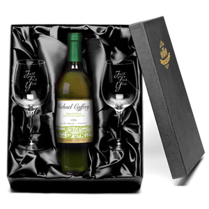 Personalised White Wine & Wine Glasses Gift Set