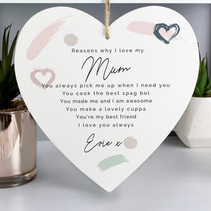 Personalised Reasons Why I Love You Wooden Heart Decoration