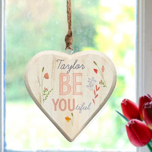 Personalised Floral Be-you-tiful Hanging Wooden Heart Decoration