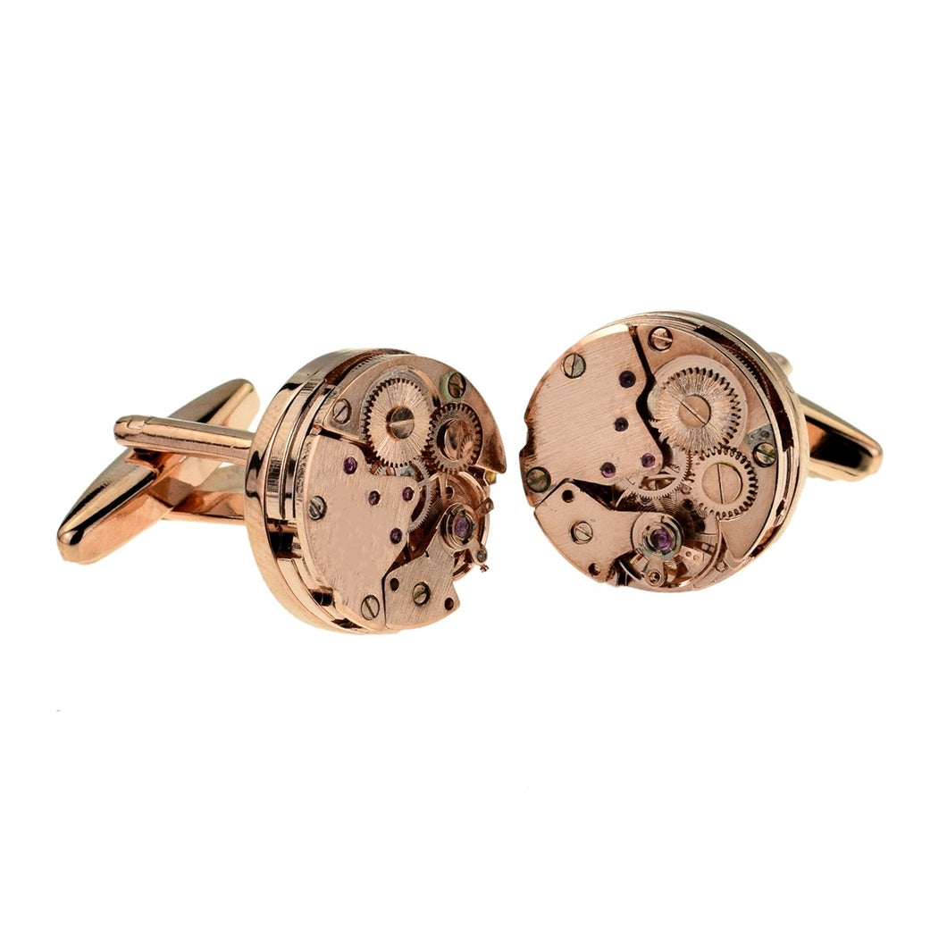 Rose Gold Coloured Real Watch Mechanism Cufflinks