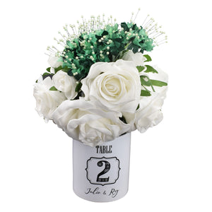 Personalised Black & White Ceramic Table Number Pot