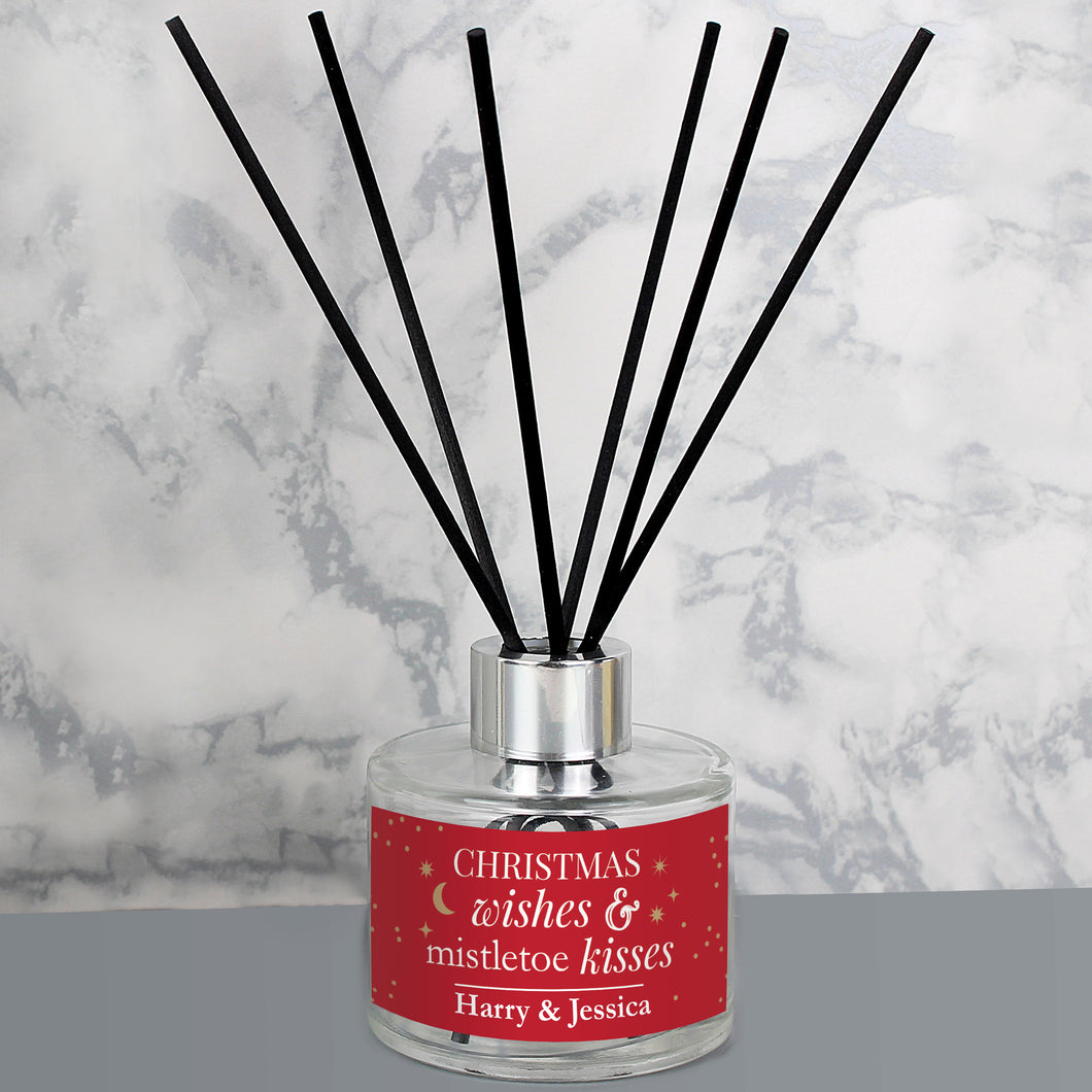 Personalised Christmas Wishes Glass Reed Diffuser