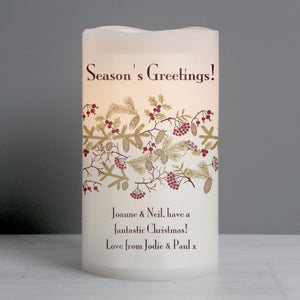 Personalised Seasons Greetings LED Candle