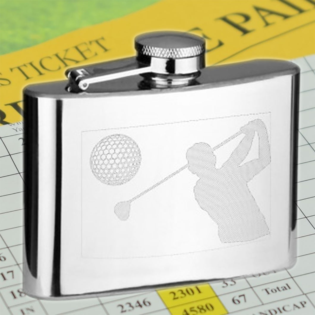 Personalised Golf Themed Hip Flask