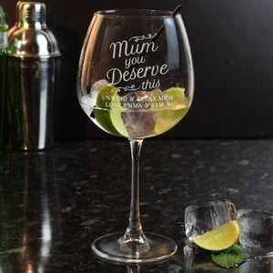 Personalised Mum You Deserve This Balloon Glass