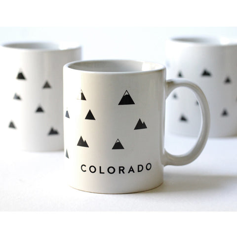 Colorado Mug, Graphic Black & White Mountains