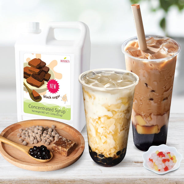 Bossen Black Sugar Syrup, Rainbow Crystal Boba & Eco-Friendly Straws