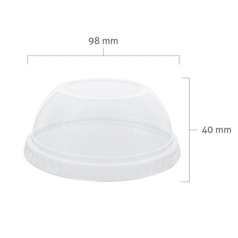 "PET Dome Cup Lids with 2"" Hole (98mm)"