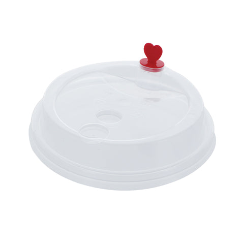 Clear Sip Lids with Heart Shaped Plug (90mm) | NEW