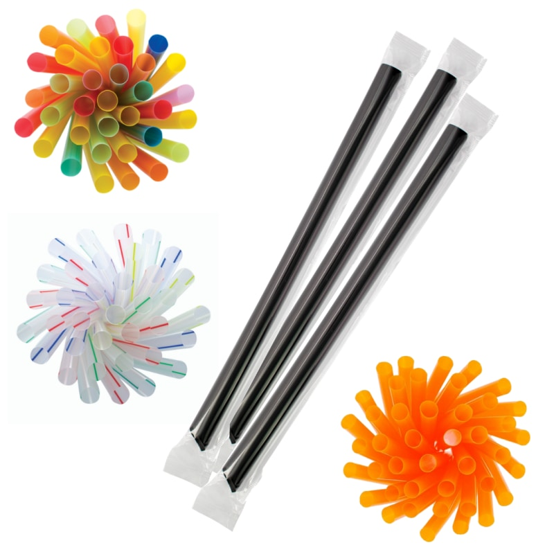 Large Boba 12Mm Straws (21Cm Wrapped) Assorted | Case Of 2250 Pcs Cups And Packagings
