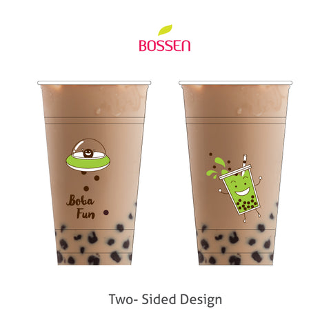 """Green UFO Boba Fun"" PP Plastic Cups (95mm) design"