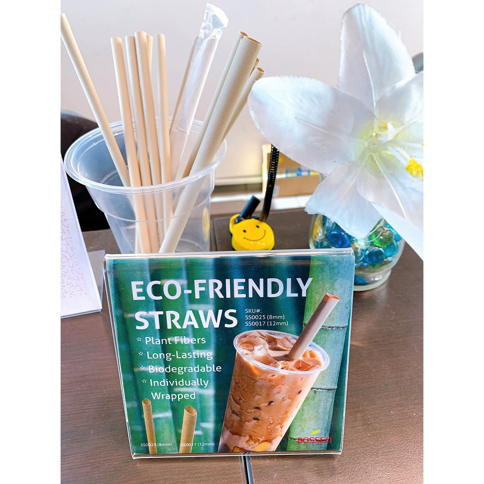 Eco-Friendly Boba Straws, 12mm Paper Wrapped (21cm) in use