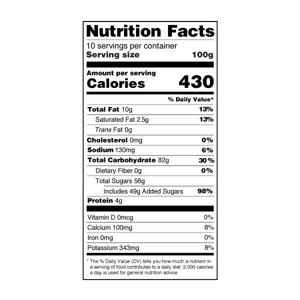 Durian Powder nutrition label