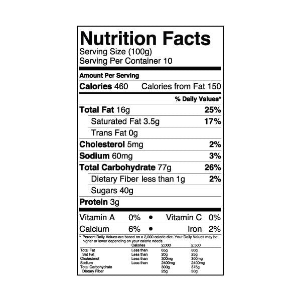 Almond Powder nutrition label