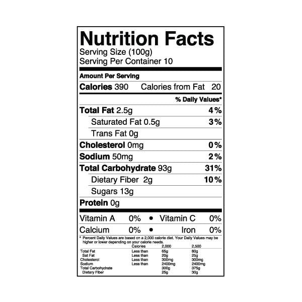 Snow Ice Base Powder nutrition label