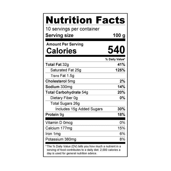 Crema Whipping Powder nutrition label