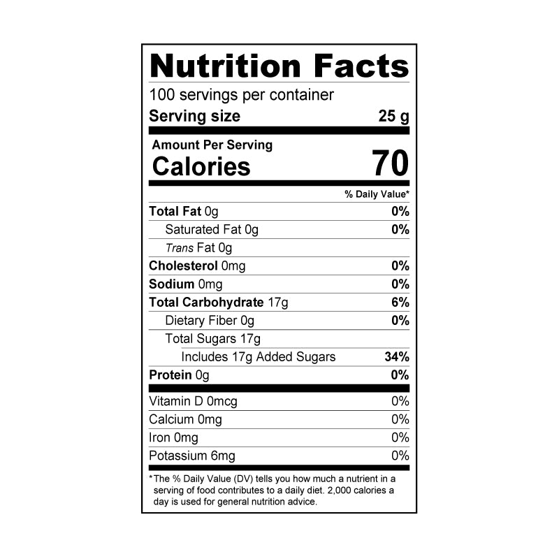 peach syrup nutrition facts