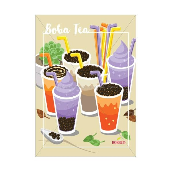 Bossen Boba Tea Poster - Illustration Pos Marketing Materials