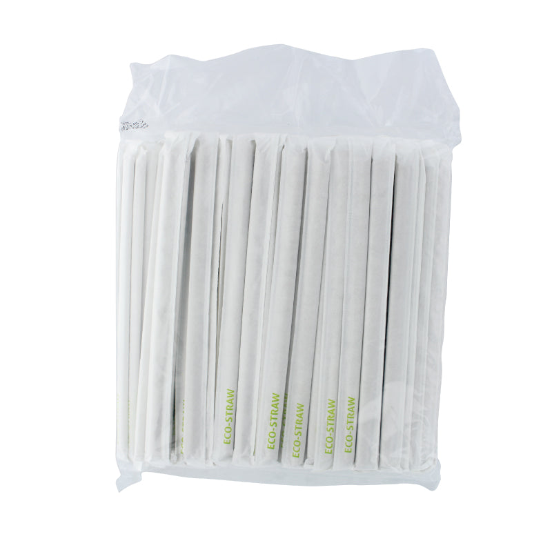 Eco-Friendly Straws, 8mm Paper Wrapped (21cm) single bag