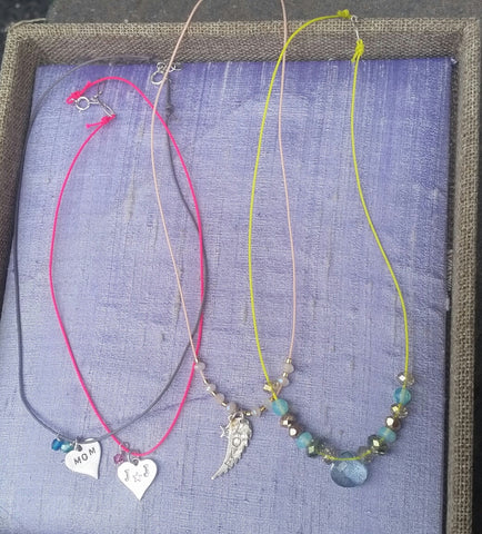 Stamped Sterling Charm Necklaces