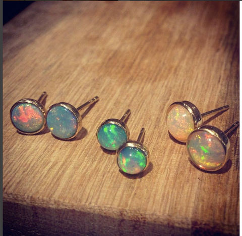 Gorgeous Ethiopian Jelly Opal Posts set in 14K