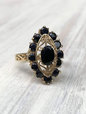 Antique Sapphire Marquis Scroll Ring