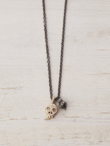 Tiny Skull Gem Necklace