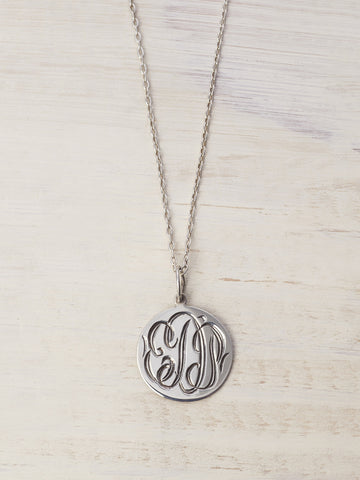 Hand Engraved Monogram on Disk Necklace